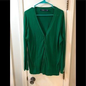 Kelly Green V-Neck Cardigan Sweater